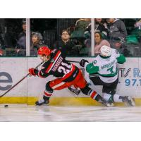Michael Rasmussen of the Grand Rapids Griffins squeezes past the Texas Stars