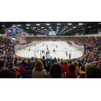 A crowd watches the Flint Firebirds at Dort Federal Credit Union Event Center