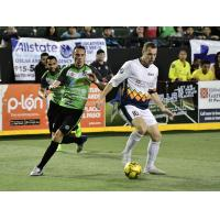 Tacoma Stars forward Nick Perera with the ball against the El Paso Coyotes
