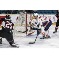 Vladislav Mikhalchuk of the Prince George Cougarsscores against the Kamloops Blazers