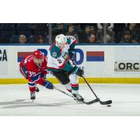 Kelowna Rockets defenceman Lassi Thomson handles the puck against the Spokane Chiefs