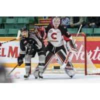 Vancouver Giants centre Jadon Joseph sets up in front of the Prince George Cougars net
