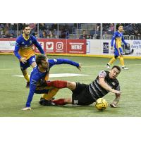 Ontario Fury defender Thiago Goncalves (right) battles the San Diego Sockers for possession