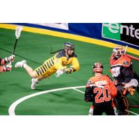 Miles Thompson of the Georgia Swarm dives on a shot attempt against the Buffalo Bandits