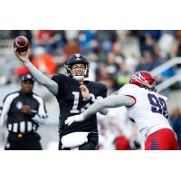 Birmingham Iron quarterback Luis Perez passes against the Memphis Express