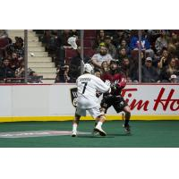 Tyler Codron of the Vancouver Warriors faces the Colorado Mammoth