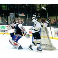 Alec Butcher of the Wheeling Nailers scores his game-winning goal against the Brampton Beast