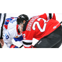 Egor Sharangovich of the Binghamton Senators faces off against the Laval Rocket