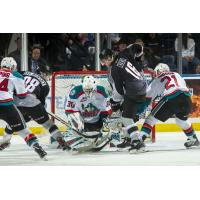 Kelowna Rockets goaltender Roman Basran against the Vancouver Giants