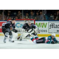 Vancouver Giants goaltender David Tendeck and defenceman Bowen Byram vs. the Kelowna Rockets