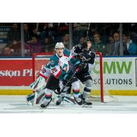 Vancouver Giants and Kelowna Rockets battle in front of the Kelown net