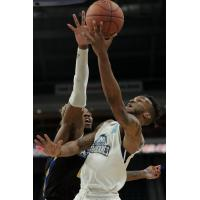 Halifax Hurricanes guard Joel Kindred battles the Saint John Riptide