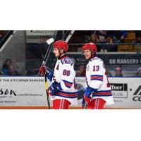 Greg Meireles (88) Riley Damiani of the Kitchener Rangers