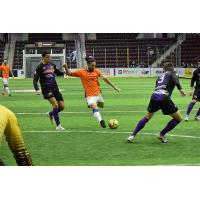 Mississauga MetroStars' Mo Babouli gets ready to strike against the Harrisburg Heat