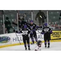 Tri-City Storm celebrates a goal against the Chicago Steel