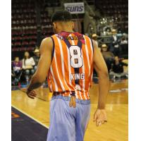 George King of the Northern Arizona Suns in his Rodeo Clowns jersey