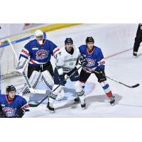 Florida Everblades right wing Nathan Perkovich (center) surrounded by the Orlando Solar Bears