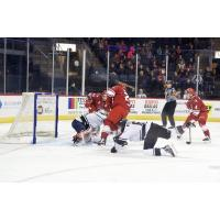 Allen Americans crash the net for a goal against the Tulsa Oilers