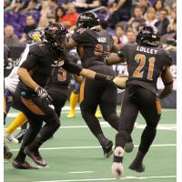 Arizona Rattlers quarterback Verlon Reed hands off to Jabre Lolley vs. the Cedar Rapids River Kings