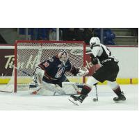 Vancouver Giants centre Dawson Holt eyes the goal against the Kamloops Blazers