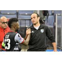 Israel Sesay of the Ontario Fury greets Landon Donovan of the San Diego Sockers