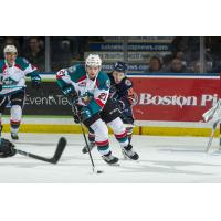 Kelowna Rockets defenceman Schael Higson vs. the Kamloops Blazers