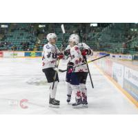 Prince George Cougars in their Don Cherry jerseys exchange congratulations after a goal against the Portland Winterhawks