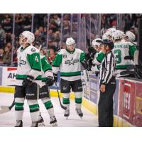 Texas Stars exchange congratulations along the bench