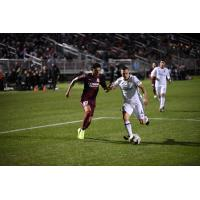 Sacramento Republic FC forward Tyler Blackwood closes in on the ball against Real Monarchs SLC
