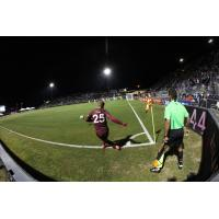Sacramento Republic FC midfielder Ray Saari with the corner against Real Monarchs SLC
