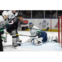 Justin Sourdif of the Vancouver Giants scores against the Seattle Thunderbirds