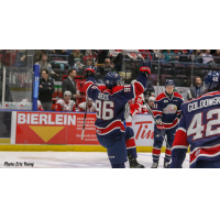 Damien Giroux of the Saginaw Spirit celebrates his goal