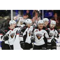 Vancouver Giants all smiles following a goal against the Kelowna Rockets