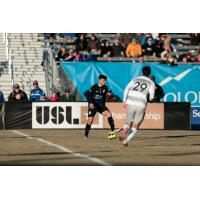 Sacramento Republic FC forward Stefano Bonomo (right) against the Colorado Springs Switchbacks