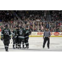 Utah Grizzlies celebrate a goal against the Rapid City Rush