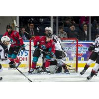 Kelowna Rockets set up in front of the Vancouver Giants goal
