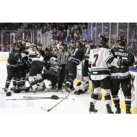 Melee between the Utah Grizzlies and the Rapid City Rush