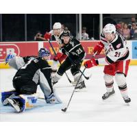 Grand Rapids Griffins left wing Chris Terry (right) eyes a shot against the San Antonio Rampage