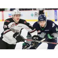 Davis Koch of the Vancouver Giants (left) vs. the Seattle Thunderbirds