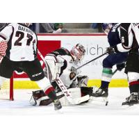 Vancouver Giants goaltender Trent Miner makes a stop against the Seattle Thunderbirds