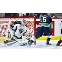 Vancouver Giants goaltender Trent Miner prepares to make a stop against the Seattle Thunderbirds