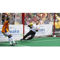 Baltimore Blast goalkeeper William Vanzela makes a save against the Mississauga Metrostars