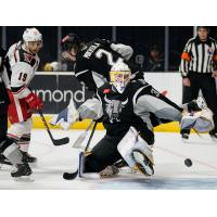 San Antonio Rampage goaltender Evan Fitzpatrick lunges for a save on Grand Rapids Griffins forward Carter Camper