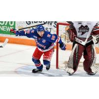 Kitchener Rangers left wing Rickard Hugg vs. the Guelph Storm