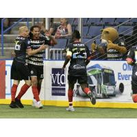 Ontario Fury celebrates a goal against the Turlock Express