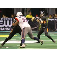 Arizona Rattlers quarterback Jeff Ziemba looks for an open receiver vs. the Sioux Falls Storm