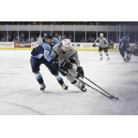 Charlie Sampair of the San Antonio Rampage (right) fights for ice against Milwaukee Admirals forward Justin Kirkland
