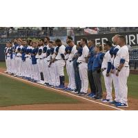 Tulsa Drillers lined up for the National Anthem prior to their 6-4 Opening Night loss to the Arkansas Travelers
