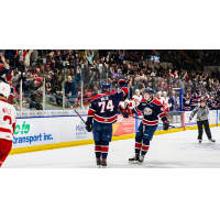 Bode Wilde and the Saginaw Spirit celebrate a goal