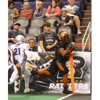 Jamal Miles of the Arizona Rattlers scores against the San Diego Strike Force
